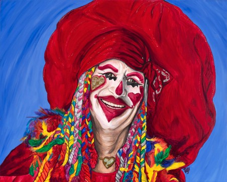 Eureka Springs Clown Acrylic On Canvas 24 X 30 Original For Sale $936.00