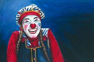 Giggles the Clown Acrylic on Canvas 24 X 36 Original For Sale $1123.00