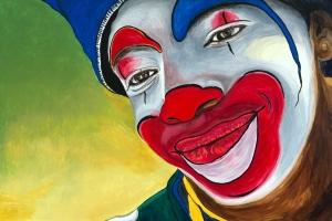 Jason The Clown Acrylic on Canvas 24 X 36 Original For Sale $1123.00