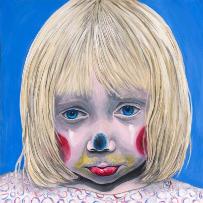 Sad Little Girl Clown Acrylic On Canvas 20 X 20 Original For Sale $520.00