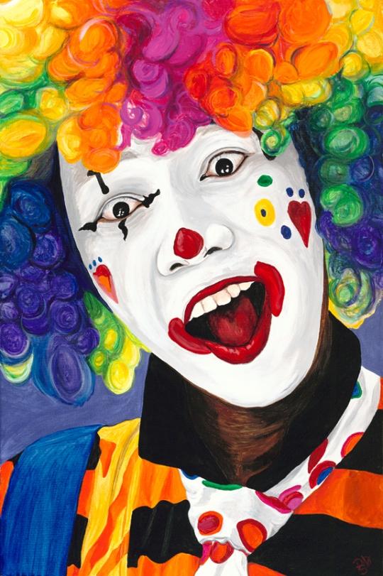 Rainbow Clown Acrylic On Canvas 24 X 36 Original For Sale $1123.00