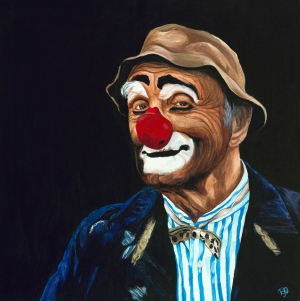Senor Billy The Hobo Clown ( Billy Beck) Acrylic On Canvas 36 X 36 Original For Sale $1684.00