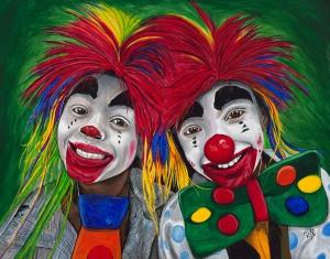 Kid Clowns Acrylic On Canvas 22 X 28 Original For Sale $800.00
