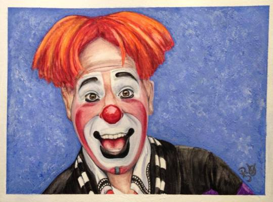 Watercolor Clown #7 Ryan Combs 9 X 12, Canson Watercolor paper   Original SOLD