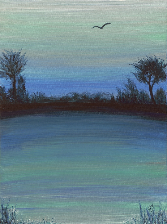Teal Sunset Acrylic on Canvas 18 X 24 Original For Sale $560.00