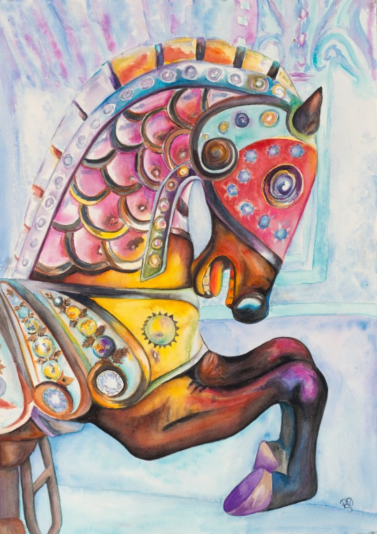 Carousel Horse Watercolor 18 X 24 on Arches 140lb Watercolor paper $400.00