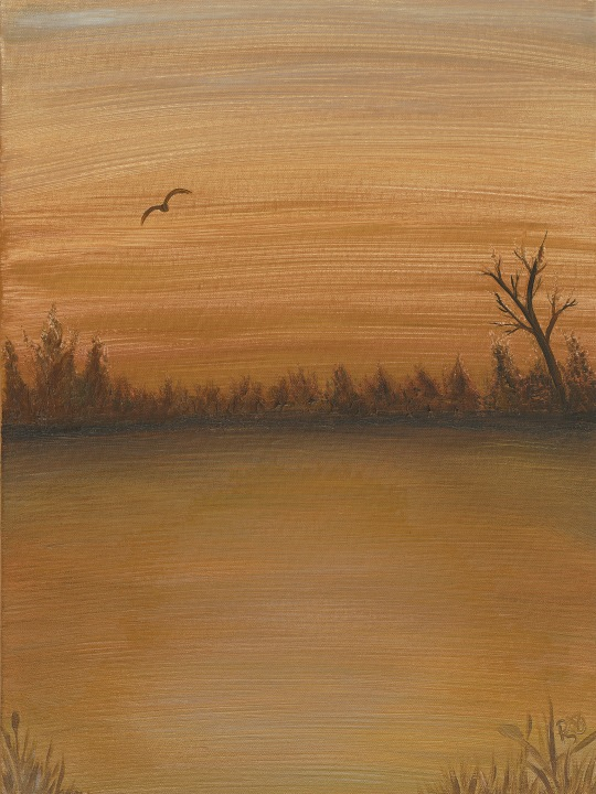 Gold Sunset Acrylic on Canvas 18 X 24 Original For Sale $560.00