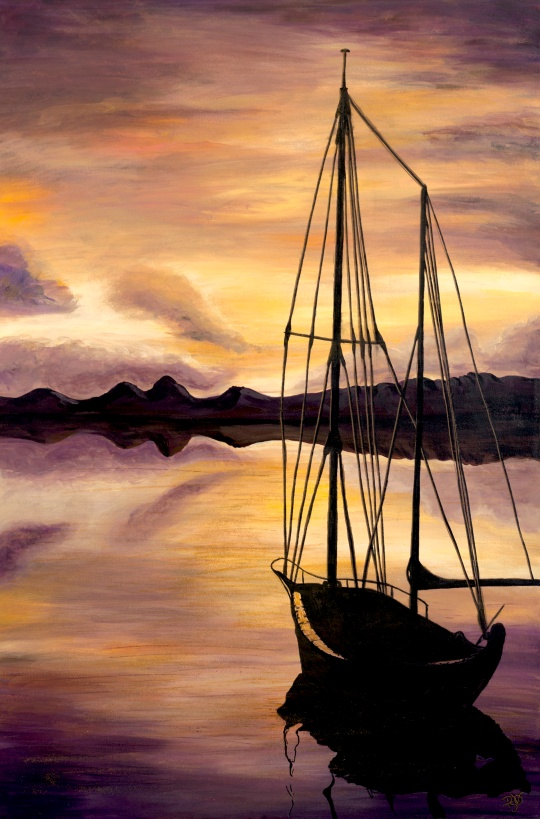 Golden Sunset with Boat 24 X 36 Acrylic on Canvas with Glitter Accents Original For Sale $1123.00
