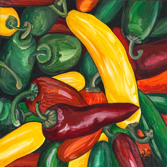 Hot Peppers 12 X 12  Acrylic on Canvas Original For Sale $250.00
