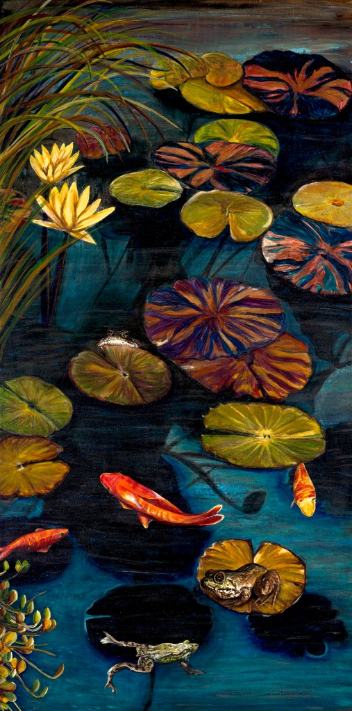 Life Among The Lily Pads Acrylic on Canvas 24 X 48  Original For Sale $1496.00