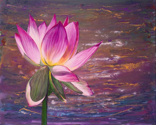 Lotus Flower by Patty Sue O'Hair - Vicknair 24 X 30 Acrylic on Canvas Original For Sale $936.00