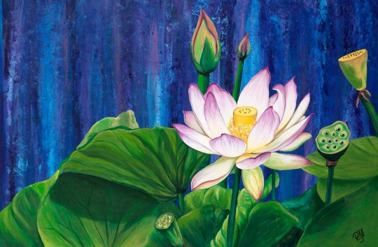 Lotus Dream by Patty Sue O'Hair - Vicknair 24 X 36 X 1.5 Acrylic on Canvas Original for sale $1123.00