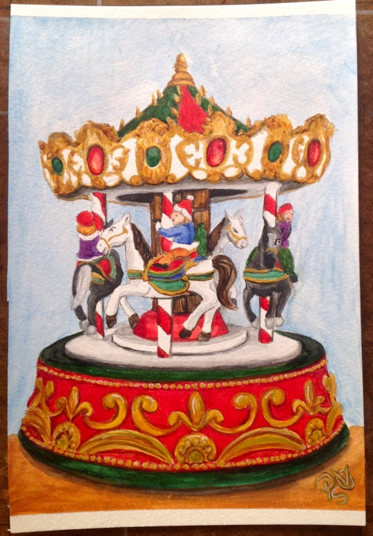 Merry-Go-Round Christmas Watercolor Painting 6 X 9 FOR SALE $50.00 and the original. Canson 140 LB Cold Pressed Watercolor Paper - Unframed. Signed by the artist, me. Free Shipping within the USA on the originals. Prints will also be available soon. 6 X 9 prints on Fine Art Paper will be $20.00 + Shipping of $6.00 12 X 18 prints on Fine Art Paper will be $35.00 + $9.00 Shipping Copyright 2014 PSOVART