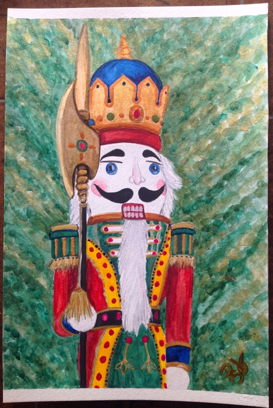Nutcracker Christmas Watercolor Painting 6 X 9 FOR SALE $50.00 and the original. Canson 140 LB Cold Pressed Watercolor Paper - Unframed. Signed by the artist, me. Free Shipping within the USA on the originals. Prints will also be available soon. 6 X 9 prints on Fine Art Paper will be $20.00 + Shipping of $6.00 12 X 18 prints on Fine Art Paper will be $35.00 + $9.00 Shipping Copyright 2014 PSOVART