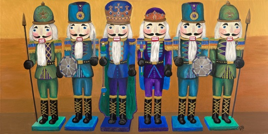 Christmas Nutcrackers in Peacock Colors 24 X 48 Acrylic on Canvas with Glitter Accents Original For Sale $1496.00