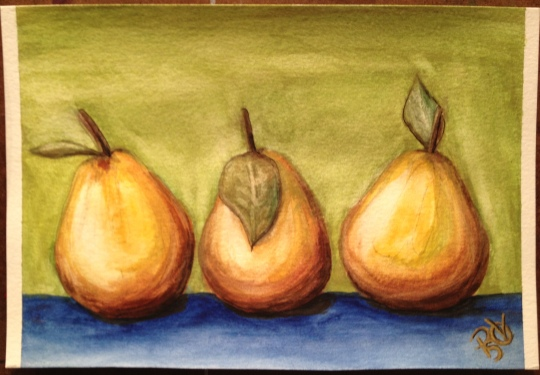 Pear Christmas Watercolor Painting 6 X 9  FOR SALE $50.00 and the original.  Canson 140 LB Cold Pressed Watercolor Paper - Unframed.   Signed by the artist, me. Free Shipping within the USA on the originals.   Prints will also be available soon.   6 X 9 prints on Fine Art Paper will be $20.00 + Shipping of $6.00  12 X 18 prints on Fine Art Paper will be $35.00 + $9.00 Shipping  Copyright 2014 PSOVART