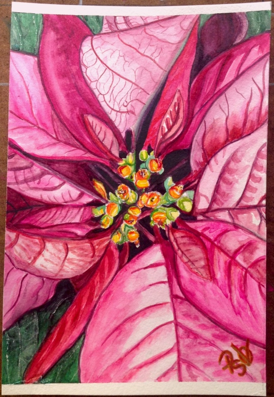 Poinsettia Christmas Watercolor Painting 6 X 9 FOR SALE $50.00 and the original. Canson 140 LB Cold Pressed Watercolor Paper - Unframed. Signed by the artist, me. Free Shipping within the USA on the originals. Prints will also be available soon. 6 X 9 prints on Fine Art Paper will be $20.00 + Shipping of $6.00 12 X 18 prints on Fine Art Paper will be $35.00 + $9.00 Shipping Copyright 2014 PSOVART