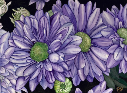 Purple Flowers Watercolor on Arches Watercolor 140 lb paper 22 X 30 For Sale $700.00