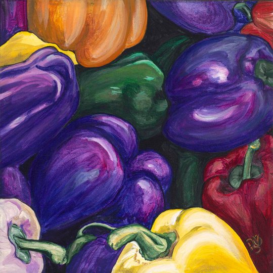 Purple Peppers 12 X 12 Acrylic on Canvas Original For Sale $250.00