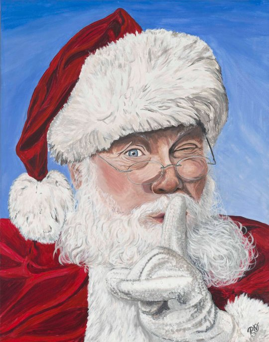Secret Santa 22 X 28 Acrylic on Canvas Original For Sale $800.00