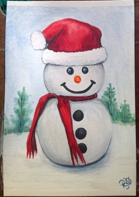 Snowman Christmas Watercolor Painting 6 X 9 FOR SALE $50.00 and the original. Canson 140 LB Cold Pressed Watercolor Paper - Unframed. Signed by the artist, me. Free Shipping within the USA on the originals. Prints will also be available soon. 6 X 9 prints on Fine Art Paper will be $20.00 + Shipping of $6.00 12 X 18 prints on Fine Art Paper will be $35.00 + $9.00 Shipping Copyright 2014 PSOVART