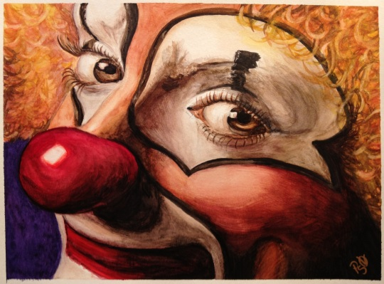 Watercolor Clown #1  9 X 12 on Canson Watercolor 140 lb paper Original for sale $75.00 + 6.00 shipping in USA