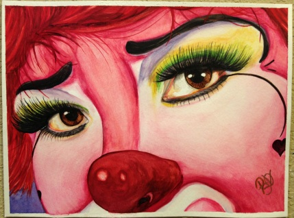 Watercolor Clown #2 Corazon Alegre - #2 in a series of watercolor clowns -SOLD