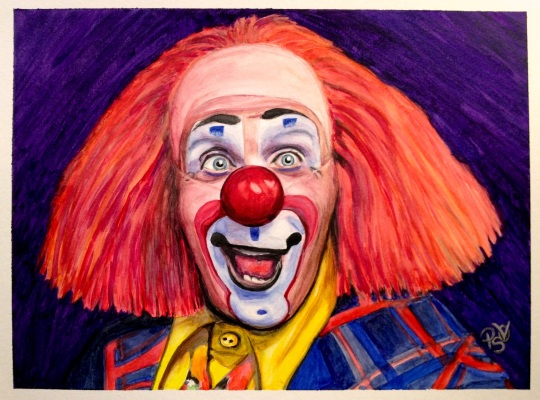 Watercolor Clown #6 Ron Toto Johnson - 9 X 12 on Canson Watercolor paper - SOLD