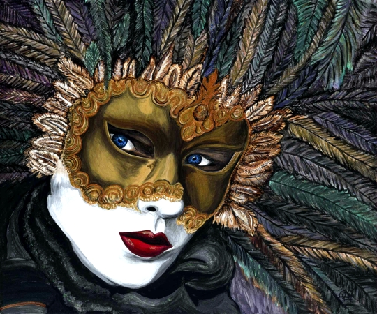 Black and Gold Carnival Mask  20 X 24 Acrylic on canvas  Original SOLD