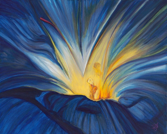 Blue Flower Center 16X20 Acrylic on Canvas Original SOLD