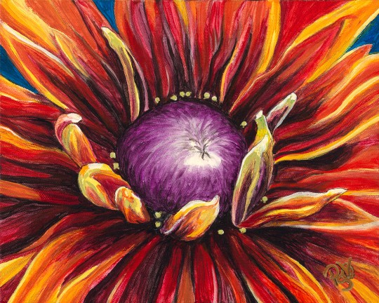 Burnt Orange Flower 8 X 10 Acrylic on Canvas Original FOR SALE $150.00