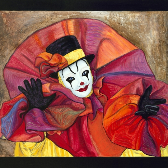 Carnival Clown 36 X 36 Acrylic with Glitter Paint Original for sale $1684.00
