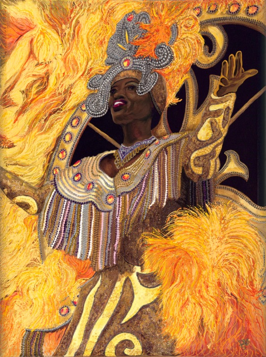 Yellow Carnival Lady 30 X 40 Acrylic on Canvas with Glitter Paint. There are no beads used on this painting it is all paint. This one took me a month to paint and there is no way to copy or print this image and have the same texture so this is a one of a kind.  This one has lots of texture. FOR SALE $3000.00
