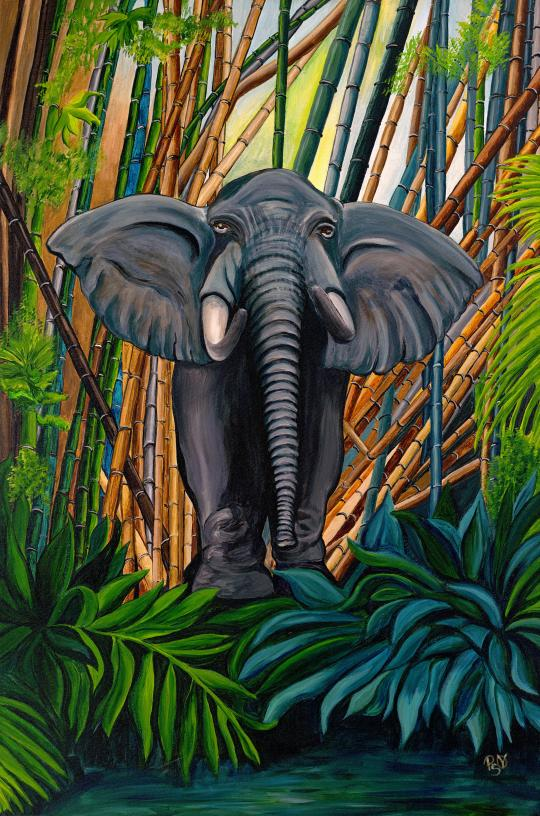 Elegant Elephant Acrylic on canvas 24 X 36 x 1.5 with just a little glitter for fun Original For Sale $1123.00