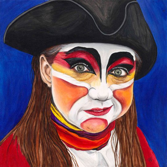 Female Pirate Carnival Figure 20 x 20 X 1.5 Acrylic on Canvas  Original for sale $520.00