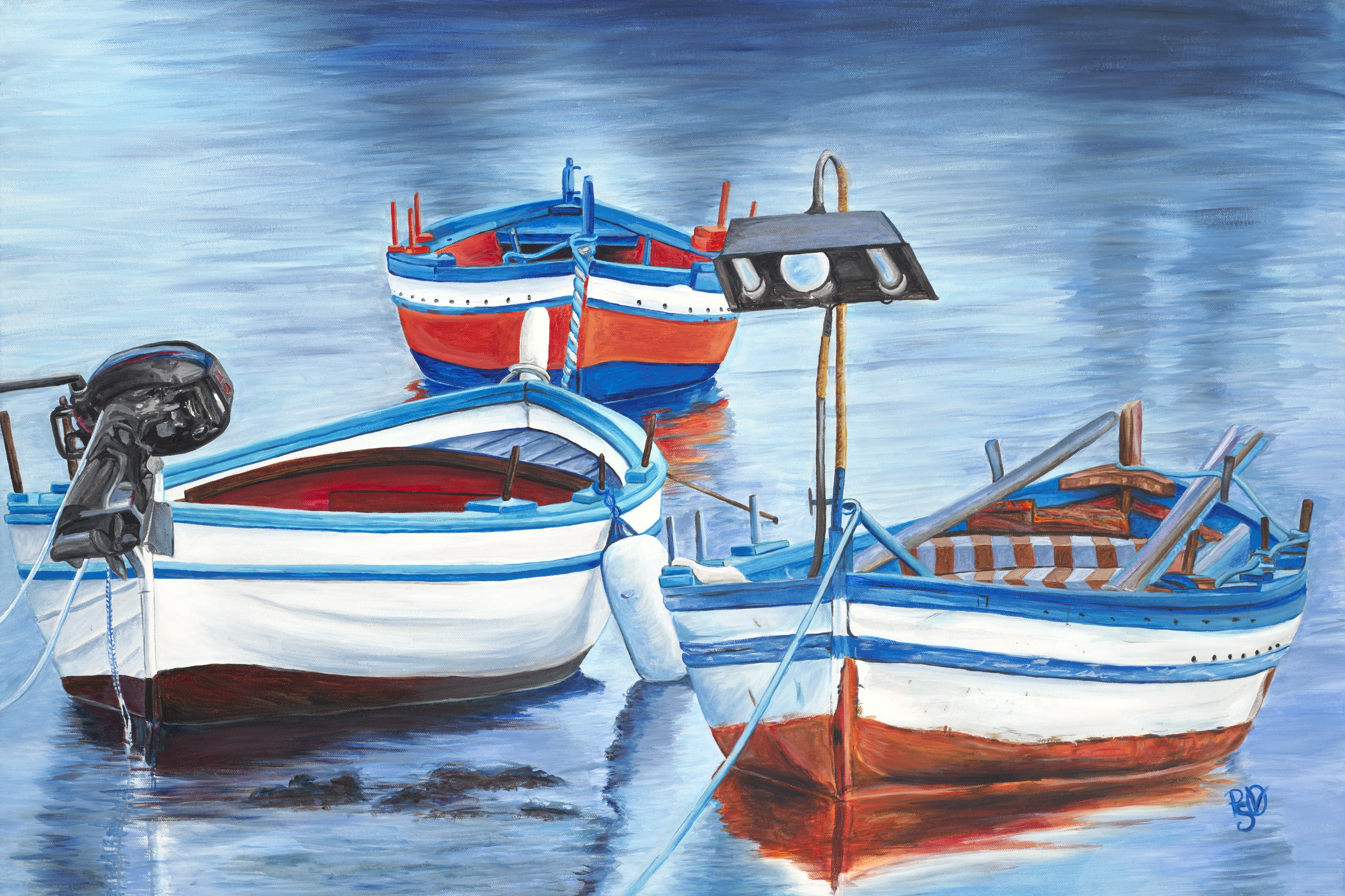 Pattys vicknair s land waterscape paintings the art of for Fishing boat painting