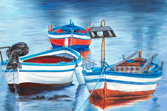 Fishing Boat Trio 24 X 36 Acrylic on Canvas Original FOR SALE $1123.00