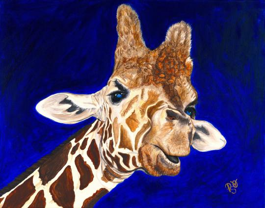 Giraffe Acrylic on canvas 22 X 28 For Sale $800.00
