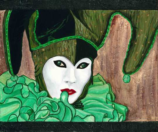 Carnival Green Jester 20 X 18 Acrylic on Canvas with Glitter Paint Original $300.00