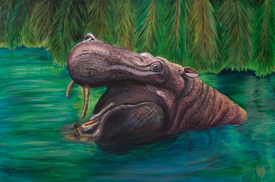 Happy Hippo Acrylic on Canvas 24 X 36 X 1.5 Original FOR SALE $1123.00