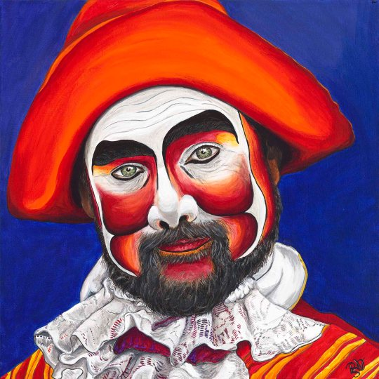 Male Pirate Carnival Figure 20 x 20 X 1.5 Acrylic on Canvas Original for sale $520.00