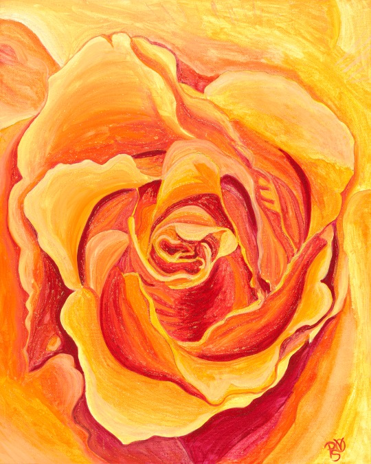 Orange Rose 16 X 20 Acrylic on Canvas Original Sold