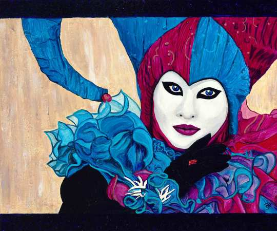 Pink and Blue Carnival Jester 20 X 18 Acrylic with Glitter Paint on Canvas. By PS-OV-ART Patty Sue O'Hair- Vicknair Original $300.00