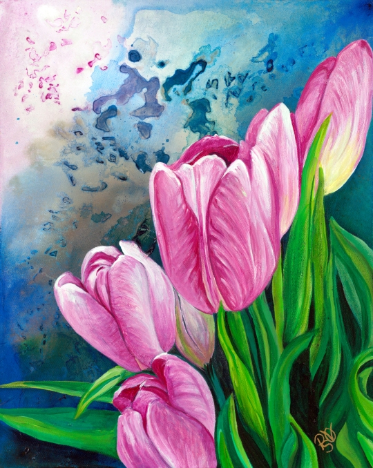 Pink Tulips 16X20 Acrylic on Canvas Original $420.00
