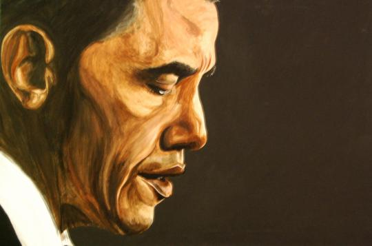 President Barack Obama 24 X 36 Acrylic on Canvas For Sale $1728.00