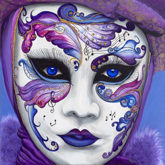 Purple Carnival Mask 30 X 30 Acrylic on canvas with glitter accents Original SOLD