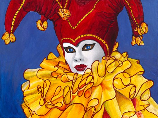 Yellow and Red Carnival Jester  24 X 18 X 1.5  Original for sale $562.00  Acrylic on Canvas with Glitter Accents.