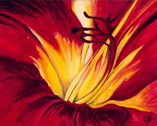 Red Flower Center 16X20 Acrylic on Canvas Original Sold