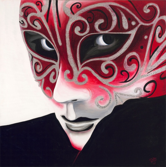 Silver Flair Carnival Mask Acrylic on Canvas 36 X 36 Original For Sale $1684.00