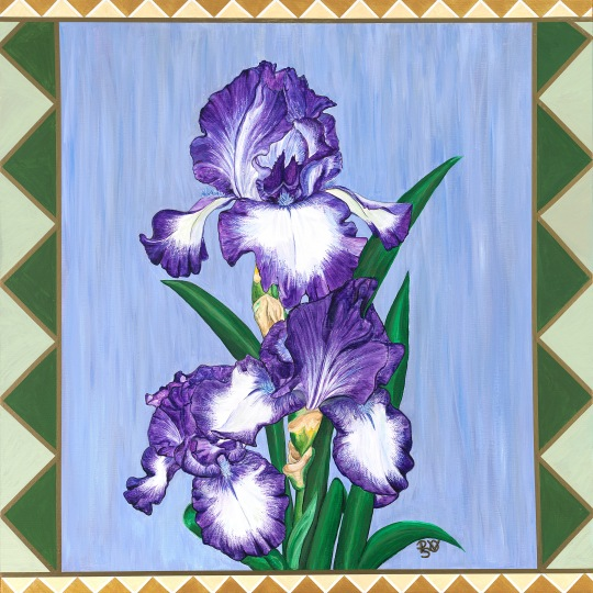 Craftsman Stain Glass Iris 30 X 30 Original SOLD